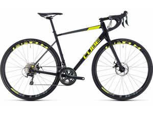 Silniční kolo CUBE ATTAIN RACE DISC 2018 black'n'flashyellow